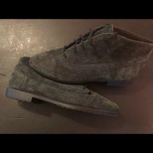 Vintage Munro Dark Green Suede Ankle Boots 8 1/2